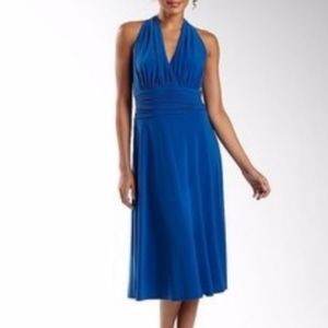 Jones Wear Marilyn Dress Mock Halter Cobalt Blue